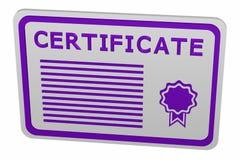 Konzept: Zertifikat, lokalisiert auf weißem Hintergrund Stockbild