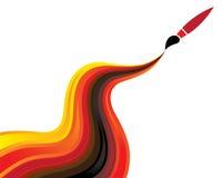 Konzeptabbildung des flüssigen Lackes u. des Pinsels Lizenzfreies Stockfoto
