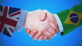 Konzeptanimation Vereinigten Königreichs - Brasiliens/des Händedrucks über Länder und Politik/mit Mattkanal stock abbildung