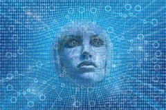 Konzeptbinär code künstlicher Intelligenz AI futuristische humanoid lizenzfreie stockbilder