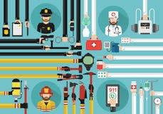 Konzeptdesign des Notrufs 911 flach Lizenzfreie Stockfotos