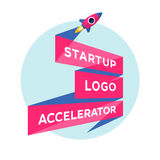 Konzeptdesign für beginnen oben Projekt mit Aufschrift Start Logo Accelerator Lizenzfreies Stockfoto