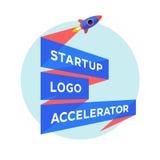 Konzeptdesign für Startprojekt mit Aufschrift Start Logo Accelerator Lizenzfreies Stockbild