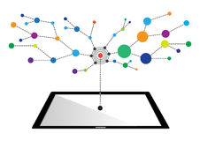 Konzepte der Internet-Vernetzungstechnologie in Tablette Stockbilder