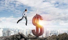 Konzepte des globalen Geschäfts und des Geldes Fallendes Dollarbargeld stock abbildung