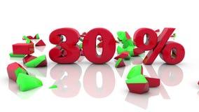 Konzepte des Verkaufs und der 30-Prozent-Aufschrift auf einem Weiß vektor abbildung