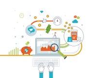 Konzepte für bewegliches Marketing, das on-line-Einkaufen und Finanzstrategie Stockfotos