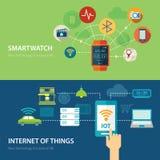 Konzepte für intelligente Uhr und Internet des flachen Designs der Sachen stock abbildung