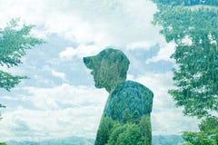 Konzeptfoto: Mehrfachbelichtungsporträt des jungen Mannes im Hut Lizenzfreies Stockbild