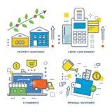 Konzeptillustration - Arten der Investitions-, E-Commerce- und Kreditzahlungskarte Lizenzfreie Stockbilder
