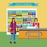 Konzeptillustration für Shop Vektorcharakter-Frauenkassierer Lizenzfreies Stockfoto