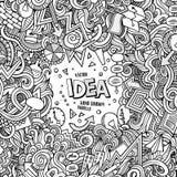 Konzeptillustration Gekritzel der Karikatur von Hand gezeichnete Stockbild