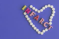 Konzeptinfarktbildung Infarktbildung, die das Herz auf einem violetten Hintergrund zerstört Kopieren Sie Platz stockbilder