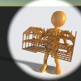 Konzeptkerl, der Holzhaus lokalisiert auf Wiedergabe des Hintergrundes 3d hält Lizenzfreie Stockfotos