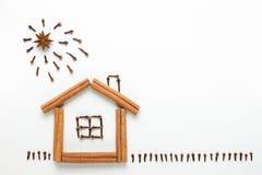 Konzeptkochen Die Idee einer Zahl gemacht von den Gewürzen Haus, Sonne und Gras gemacht von den Zimtstangen, von den Nelken und v Lizenzfreies Stockbild
