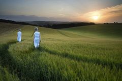 Konzeptlandschaftsjungen, die herein durch Feld bei Sonnenuntergang gehen Lizenzfreie Stockfotos