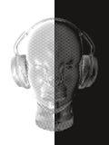Konzeptmusik Ein abstrakter Vektor für hörende Musik des Mannes mit Kopfhörern Künstlerisches Entwurfsdesign Auch im corel abgeho Lizenzfreie Stockfotos