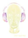 Konzeptmusik Ein abstrakter Vektor für hörende Musik des Mannes mit Kopfhörern Künstlerisches Entwurfsdesign Auch im corel abgeho Lizenzfreies Stockfoto
