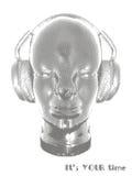 Konzeptmusik Ein abstrakter Vektor für hörende Musik des Mannes mit Kopfhörern Künstlerisches Entwurfsdesign Auch im corel abgeho Lizenzfreie Stockfotografie