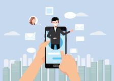Konzepton-line-Assistent, Hände halten smartpnone, Kunden und Betreiber, Call-Center, globale technische on-line-Unterstützung 24 lizenzfreie abbildung