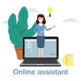 Konzepton-line-Assistent, Kunde und Betreiber, Call-Center, globale technische on-line-Unterstützung 24-7 Auch im corel abgehoben stock abbildung
