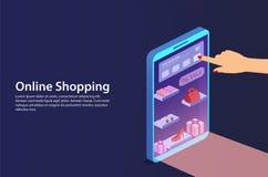 Konzepton-line-Einkaufen vom Smartphone Lizenzfreies Stockbild