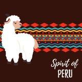 Konzeptplakat nettes Lama und Südamerika-Verzierung lizenzfreie abbildung