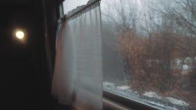 Konzeptreise-Bahnzug Regenfahrten durch Schiene WinterB?ume des Waldes in Russland Eisenbahnansicht vom Innere von a stock video