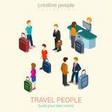 Konzeptsatz des flachen Netzes 3d der Reiseleute isometrischer infographic Lizenzfreies Stockfoto