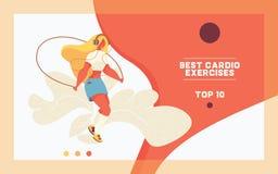 Konzeptschablone der Landungsseite für Sport und Training Junges übergroßes Mädchen, das mit Springseil springt Flacher Artcharak lizenzfreie stockfotografie