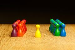 Konzeptteam, Führer, Führung, gelbes Pfand der Verehrung Stockbild