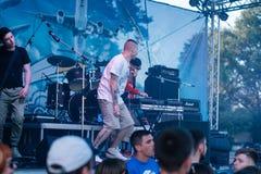 Konzert des ukrainischen Rap-Künstlers Yarmak May 27, 2018 am Festival in Cherkassy, Ukraine stockfotografie