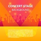Konzertpublikum, Musikfestival, tanzende Leute, Parteiplakat mit buntem Hintergrund lizenzfreie abbildung
