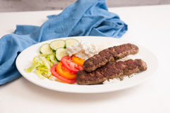 koobideh ground lamb with rice and vegetables, Royalty Free Stock Image