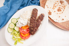 koobideh ground lamb with rice and vegetables, Royalty Free Stock Photos