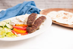 koobideh ground lamb with rice and vegetables, Stock Image