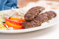 koobideh ground lamb with rice and vegetables, Stock Images