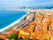 Kooi D ` Azur beachfront, Nice, Frankrijk royalty-vrije stock foto's