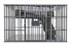 Kooi, gevangeniscel met kanon, het 3D teruggeven stock illustratie