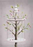 Kooi met een kersenboom Stock Afbeelding