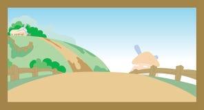 Kook dos desenhos animados da cena da exploração agrícola da vila Imagem de Stock