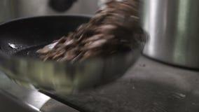 Kook het vlees in een pan, mengt spatel en worpen in de lucht stock video