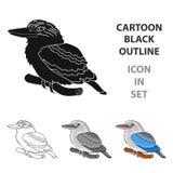 Kookaburra sitting on branch icon in cartoon style isolated on white background. Australia symbol stock vector Stock Photo