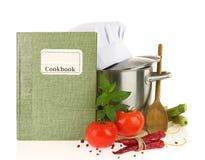 Kookboek, groenten en braadpan royalty-vrije stock fotografie