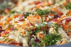 Kool Verse de zomersalade met kool, wortelen en peterselie Boerenkoolsalade Gezond voedsel De schotel van het veganistdieet Kool  Royalty-vrije Stock Fotografie