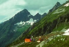 KoolAid Lake campsite. On the Ptarmigan traverse, CascadesWashington stock images