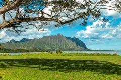 Koolau Mountains. The Koolau mountains viewed across Kaneohe Bay on Windward Oahu, Hawaii Royalty Free Stock Photos