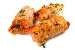 Koolbroodjes met gehakt worden gevuld dat Royalty-vrije Stock Afbeeldingen