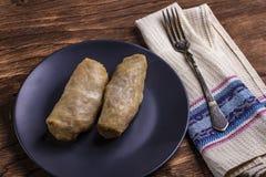 Koolbroodjes met rundvlees, rijst en groenten Gevulde koolbladeren met vlees Dolma, sarma, sarmale, golubtsy of golabki royalty-vrije stock foto's