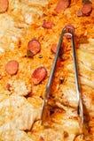 Koolbroodjes met vlees en stijging royalty-vrije stock afbeelding